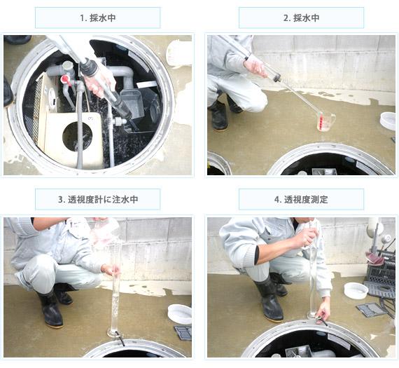 2次処理水排水後、透視度測定の写真
